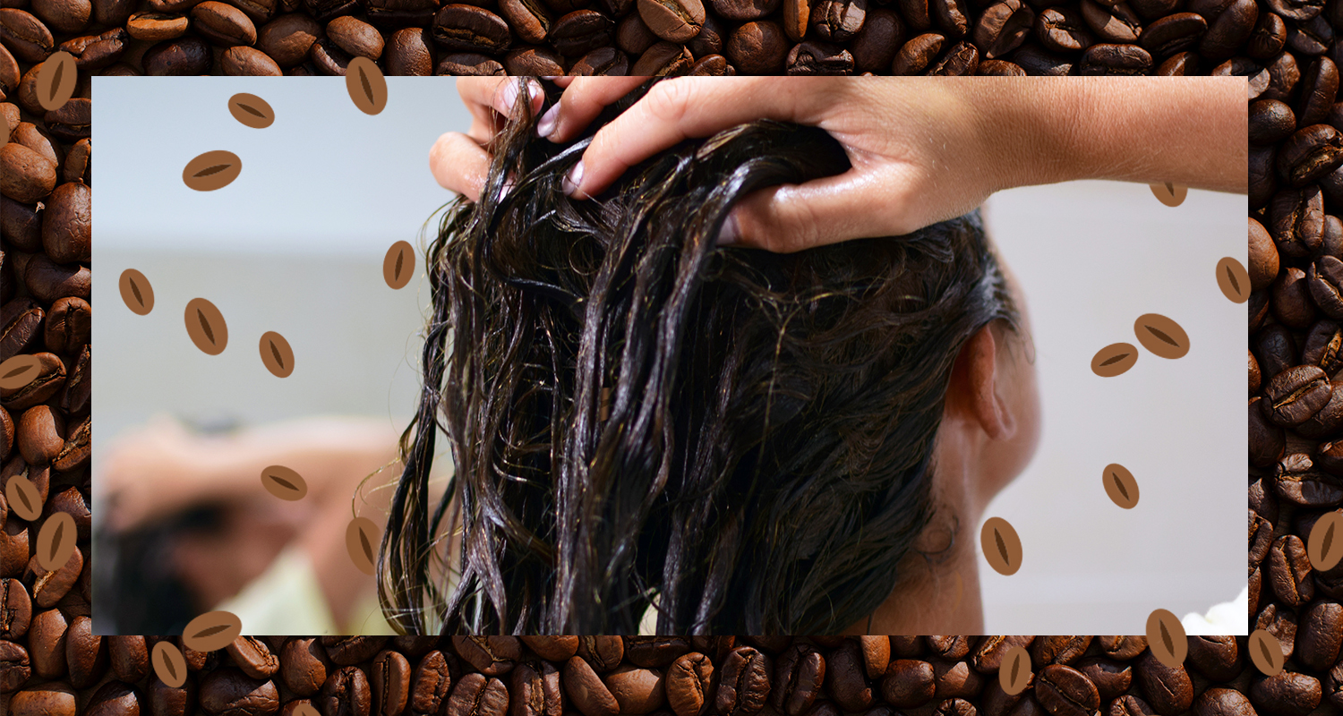 Putting coffee in hair